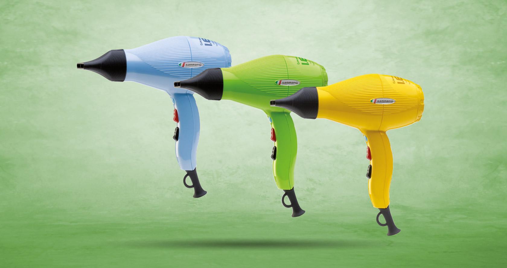Serie di tre colorazioni asciugacapelli Gamma Più I.E.S. giallo, azzurro cielo e verde