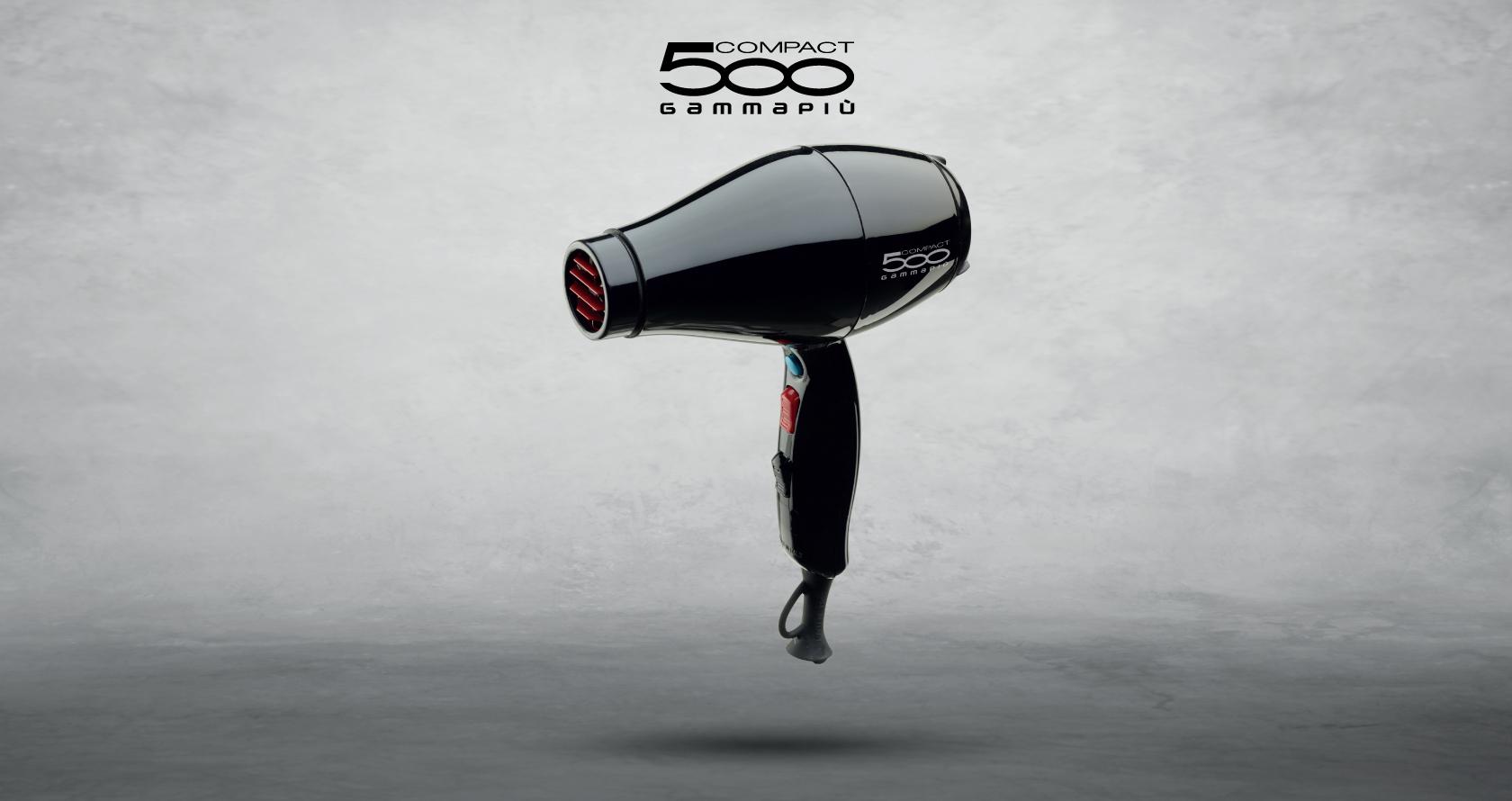 Asciugacapelli Gamma Più 500 Compact colore nero con griglia ionizzante in tormalina