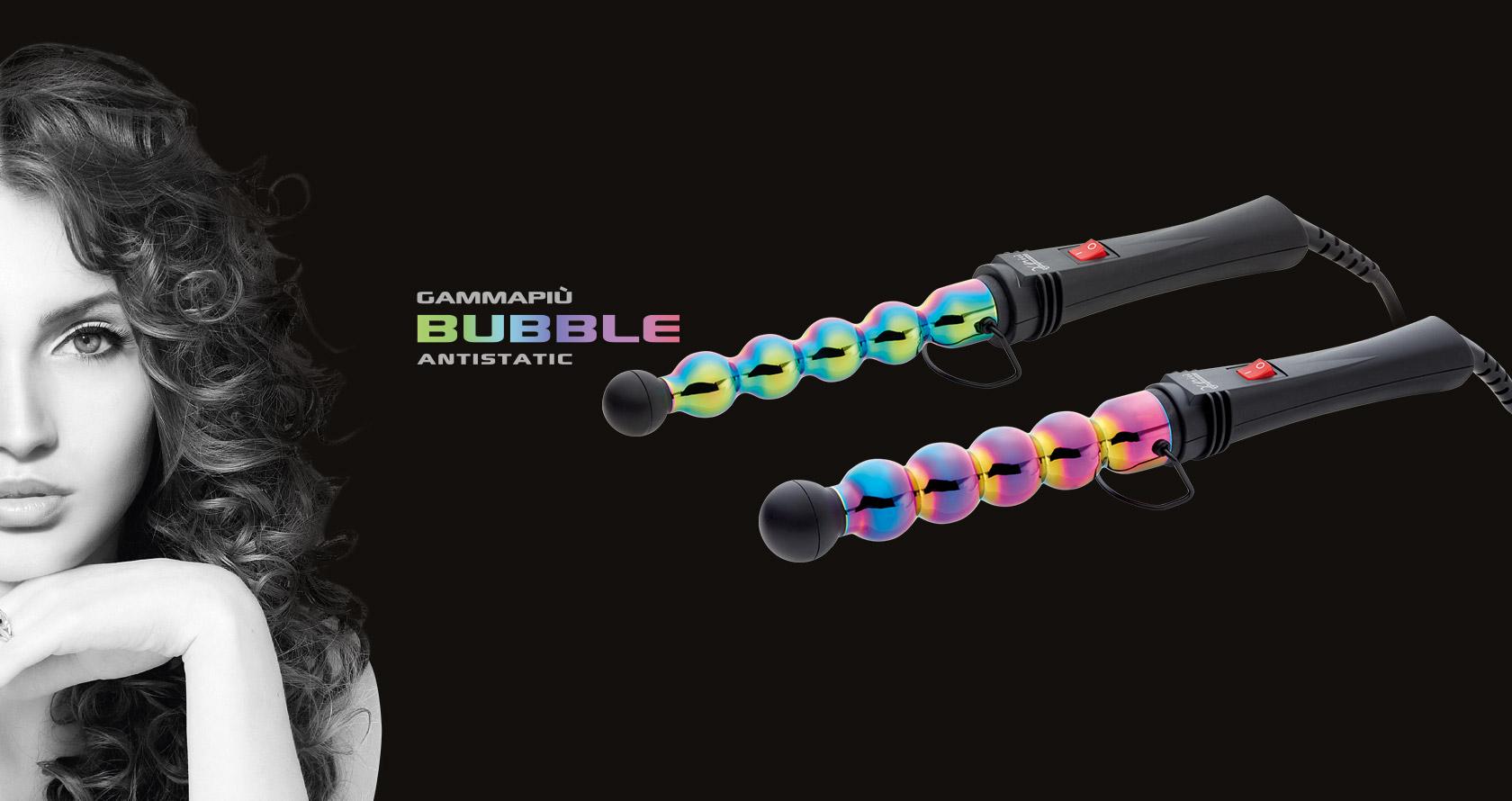 Ferro professionale multicolor Gamma Più Iron Bubble Raibow per ricci e boccoli, due formati disponibili